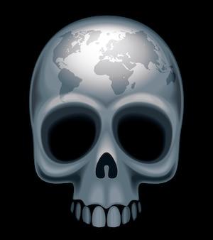 Crâne avec une carte du monde sur son front eps8 cmjn organisé par calques couleurs globales dégradés utilisés