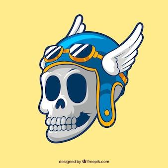 Crâne de casque avec des ailes