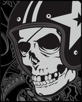 Crâne avec casque café racer