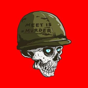 Crâne avec casque métallique en illustration