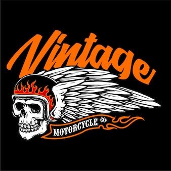 Crâne de casque de motard avec vecteur d'emblème vintage ailes