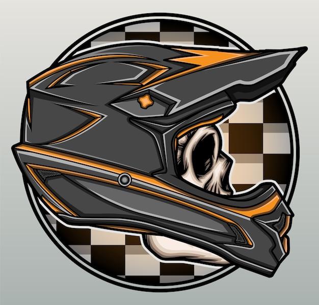Crâne avec casque de motocross.