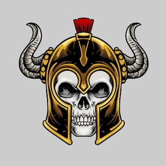 Crâne avec casque spartan
