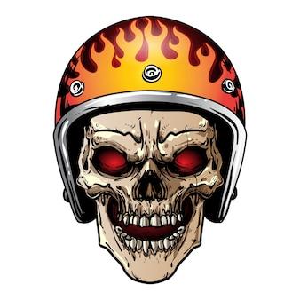 Crâne avec casque vintage