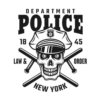 Crâne en casquette de police avec deux matraques croisées