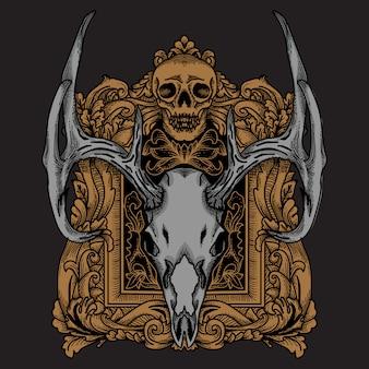 Crâne de cerf avec cadre d'ornement