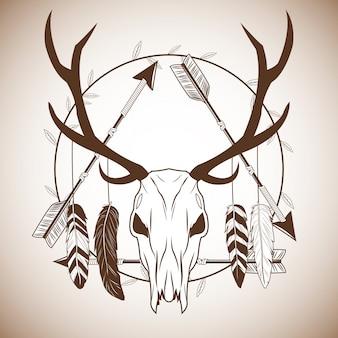Crâne de cerf avec l'icône de plumes