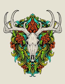 Crâne de cerf illustration avec ornement de gravure