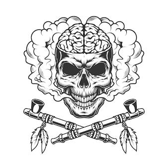 Crâne avec cerveau humain dans un nuage de fumée