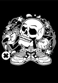 Crâne chanter personnage de dessin animé