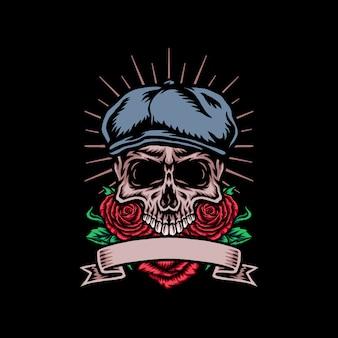 Crâne en chapeau de chauffeur de taxi avec fleur rose