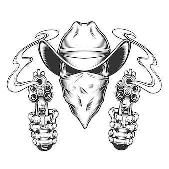 Crâne en chapeau de cowboy et écharpe