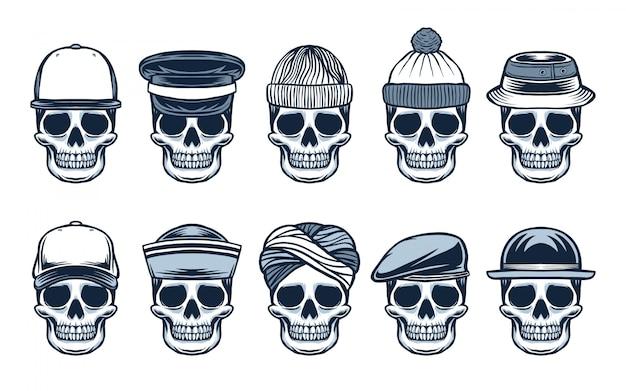 Crâne avec un chapeau différent dans un style dessiné à la main
