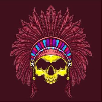 Crâne avec chapeau ethnique