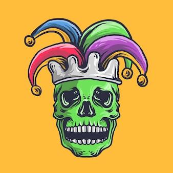 Crâne avec chapeau de fous de bouffon