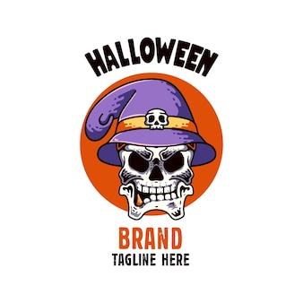 Crâne avec chapeau illustration personnage joyeux halloween avec corbeau