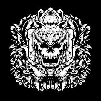 Crâne avec chapeau de loup isolé sur fond noir