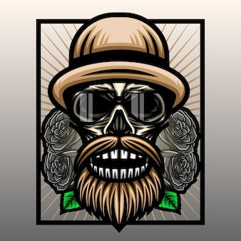 Crâne avec chapeau et rose noire.