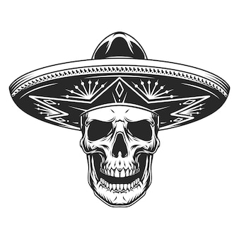Crâne en chapeau sombrero mexicain