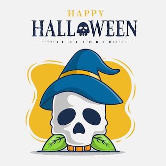 Crâne et chapeau de sorcière avec illustration d'icône de célébration d'halloween heureux
