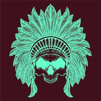 Crâne avec chapeau de tribu