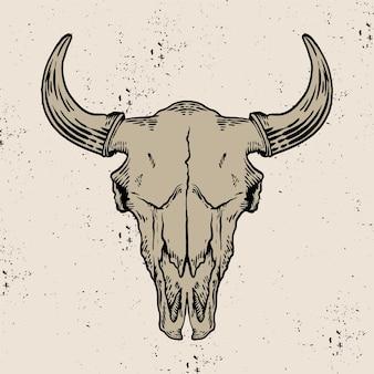Crâne de chèvre gravé style vintage dessiné à la main