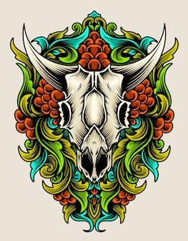 Crâne de chèvre avec illustration de style onament