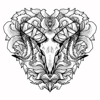 Crâne de chèvre avec ornement d'amour floral