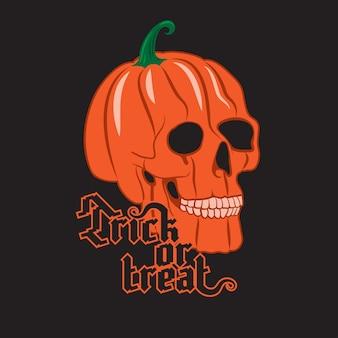 Crâne de citrouille d'halloween sur fond noir. affiche d'halloween heureux