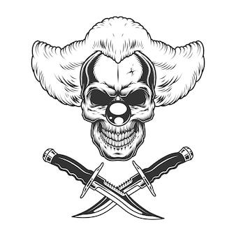 Crâne de clown effrayant vintage