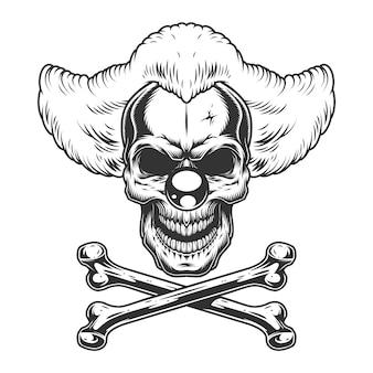 Crâne de clown maléfique effrayant monochrome vintage