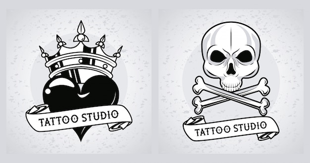 Crâne et coeur avec des graphiques de tatouages de couronne
