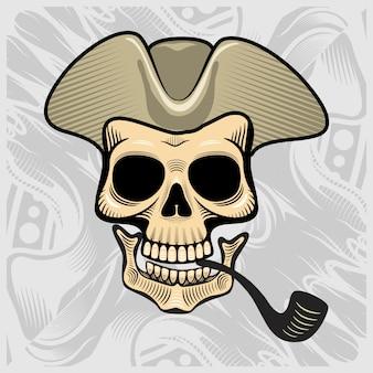 Crâne coiffé d'un chapeau de fumeur