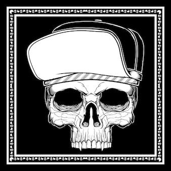 Crâne coiffé d'un chapeau