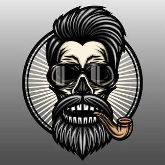 Crâne de coiffeur avec pipe.