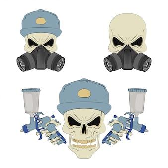Crâne en colère dans un respirateur.