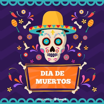 Crâne coloré avec fond de chapeau día de muertos