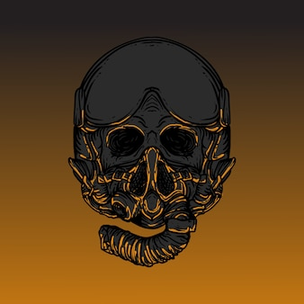 Crâne de conception d'illustration de travail d'art avec casque jet pilote