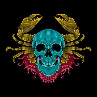 Crâne de conception de t-shirt coloré avec ornement de crabe décoration isolée de style engravig