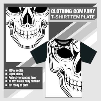 Crâne de conception de t-shirt de société de vêtements de maquette