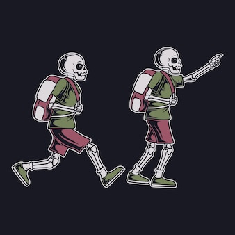 Crâne de conception de t-shirt vintage en cours d'exécution avec illustration de randonnée sac de randonnée