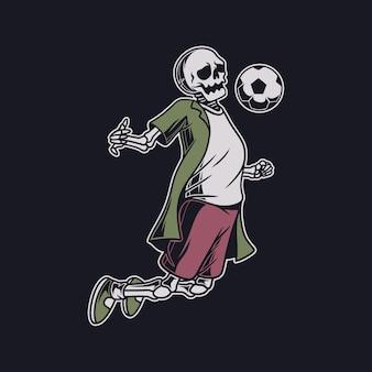 Crâne de conception de t-shirt vintage dans une position de saut prend l'illustration de football de balle