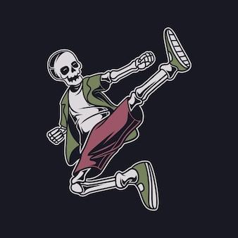 Le crâne de conception de t-shirt vintage plane dans une illustration de karaté de position de coup de pied