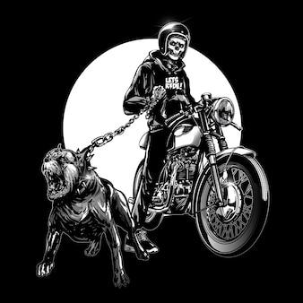 Crâne coureurs avec moto vintage
