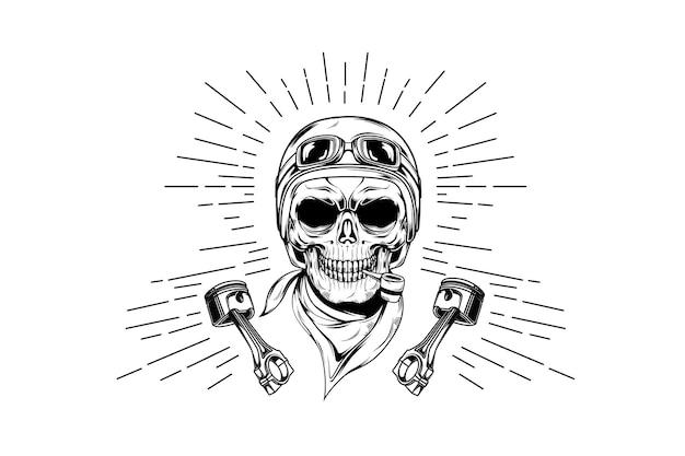 Crâne de course dessiné à la main