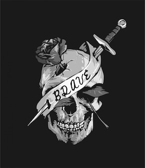 Crâne avec un couteau et une rose