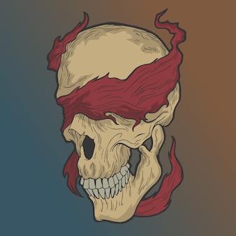 Crâne couvert dans les yeux