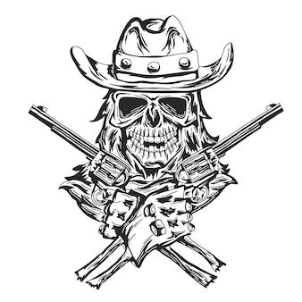 Crâne de cow-boy au chapeau avec deux pistolets aux mains.