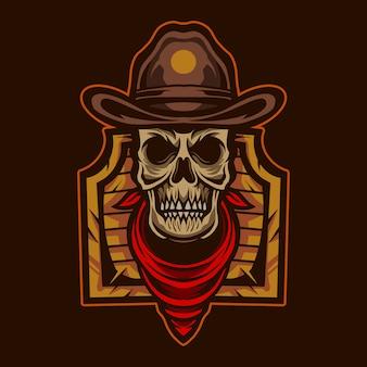 Crâne de cow-boy avec emblème d'illustration de porte texas