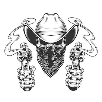 Crâne de cow-boy avec foulard sur le visage